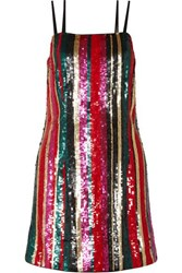 Haney Elektra Striped Sequined Tulle Mini Dress Pink