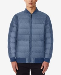 32 Degrees Men's Packable Bomber Jacket Denim Blue Melange
