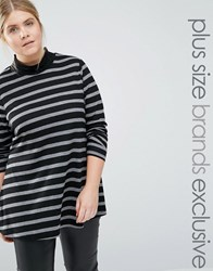 Junarose Striped Ribbed Roll Neck Top Multi