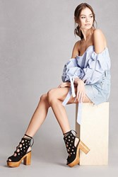 Forever 21 Yoki Caged Faux Suede Platforms