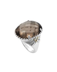 Lagos Silver Smoky Quartz Ring With 18K Gold Size 7