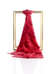 Shanghai Tang Cashmere Printed Leaves Shawl Red