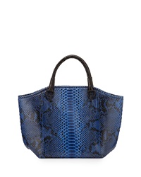 Nancy Gonzalez Python Crocodile Trim Tote Bag Dark Blue