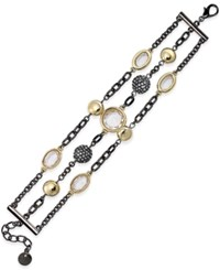 Alfani Two Tone 3 Row Pave Bracelet Only At Macy's