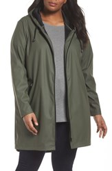 Junarose Plus Size Women's Kamelia Hooded Raincoat Ivy Green