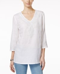 Charter Club Embroidered Linen Tunic Only At Macy's Bright White