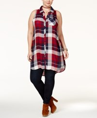 American Rag Trendy Plus Size Plaid Tunic Only At Macy's Chili Red