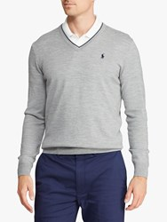 Ralph Lauren Polo Golf By Merino Wool V Neck Jumper Andover Heather
