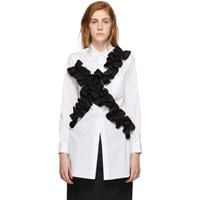 Comme Des Garcons White And Black Ruffled Shirt