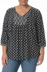 Nydj Plus Size Women's 'Patchwork Mosaic' Peasant Blouse Marais Black