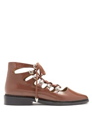Toga Polido Lace Up Leather Flats Brown
