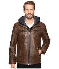 Scully Karl Leather Jacket With Zip Out Hoodie Brown Men's Coat
