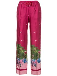 F.R.S For Restless Sleepers Flamingo Print Trousers Purple