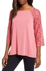 Chaus Lace Sleeve Jersey Top Starburst
