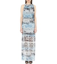 Reiss Ezra Printed Maxi Dress Multi Blue