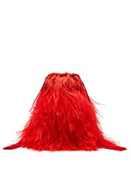 The Attico Beaded Ostrich Feather Satin Clutch Bag Red