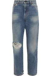 Saint Laurent Woman Distressed Mid Rise Straight Leg Jeans Mid Denim