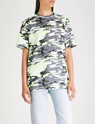 Wasted Paris Camouflage Print Cotton Jersey T Shirt Grey Neon Yellow
