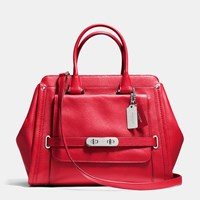 Coach Swagger Frame Satchel In Leather Silver True Red