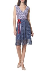 Donna Morgan Women's Print Fit And Flare Dress Marine Navy Kiss Multi