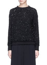 Alice Olivia 'Helen' Sequinned Crepe Sweatshirt Black
