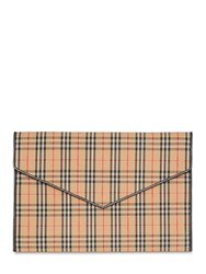 Burberry 1983 Large Checked Envelope Pouch Beige Black