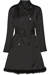 Simone Rocha Feather Trimmed Duchesse Satin Coat Black
