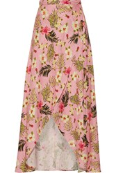 Miguelina Ballerina Printed Linen Wrap Maxi Skirt Baby Pink
