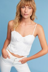 Anthropologie Scalloped Crop Top White