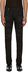 Saint Laurent Black Patched Low Waisted Skinny Jeans