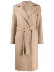 Closed Belted Mid Length Coat Neutrals