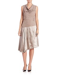 Lafayette 148 New York Nia Suede And Silk Dress Lead