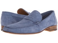 A. Testoni Unlined Suede Penny Loafer Jeans Men's Slip On Shoes Blue