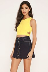 Forever 21 Embroidered Mesh Crop Top