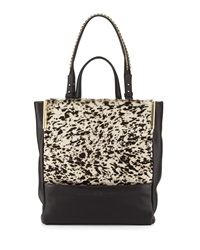Halston Heritage Calf Hair And Leather North South Tote Bag Black Multi