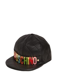 Moschino Logo Lettering Quilted Leather Hat