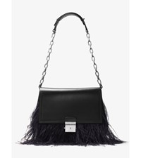 Mia French Calf And Feather Shoulder Bag