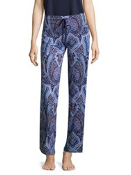 In Bloom Printed Drawstring Pants Dark Blue