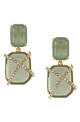 Louise Et Cie Stone Drop Earrings Gold Seagreen Crystal