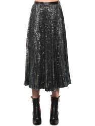 Marco De Vincenzo Sequined Pleated Midi Skirt Silver