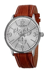 Akribos Xxiv Men's Precise Quartz Multifunction Strap Watch Brown