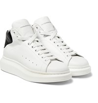Alexander Mcqueen Exaggerated Sole Leather High Top Sneakers White