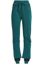 Haider Ackermann Frayed Cotton Jersey Track Pants Teal