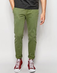 Abercrombie And Fitch Skinny Stretch Chino In Olive Green Olive