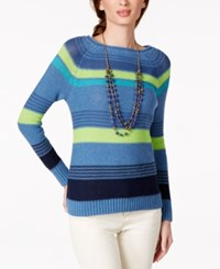 American Living Striped Sweater Only At Macy's Nordic Blue Heather Multi