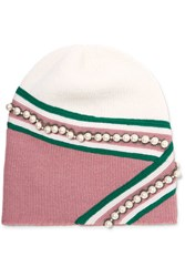 Gucci Embellished Wool Beanie Pink