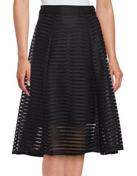 Marina Mesh Accented A Line Skirt Black