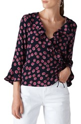 a51ca1605d31c2 Whistles Lenno Print Wrap Top Pink Multi