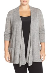 Plus Size Women's Sejour Wool And Cashmere Open Front Cardigan