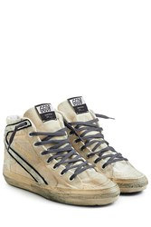 Golden Goose 2.12 Canvas High Top Sneakers Beige